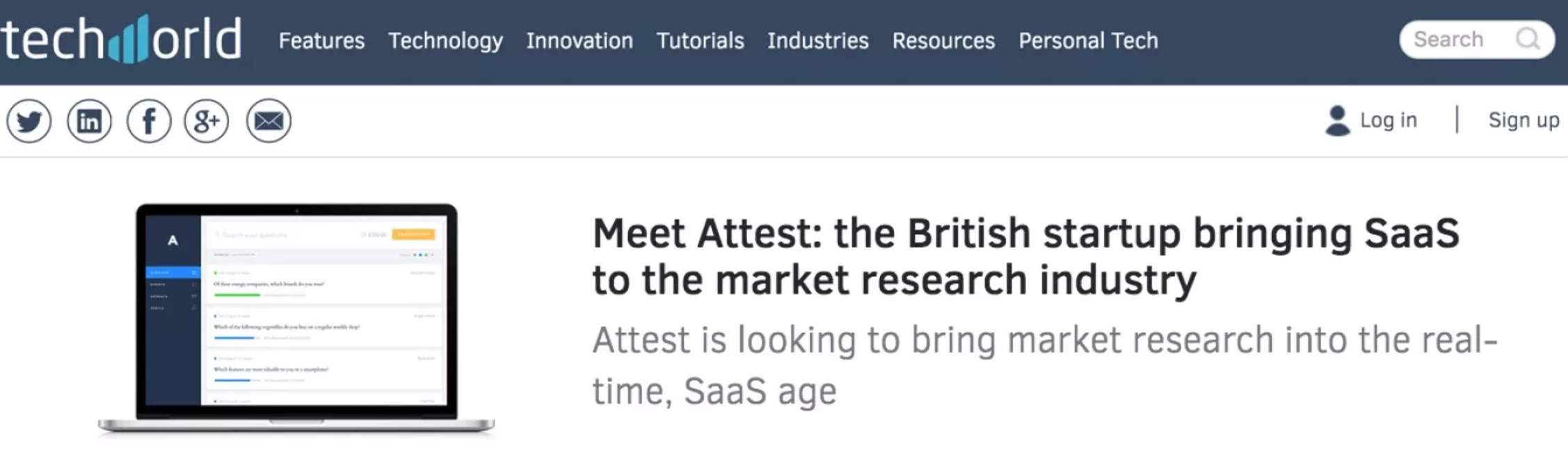 TechWorld features Attest as one of the top MarTech startups in the UK.